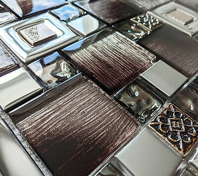 New Bronze Brown Foil Glass & Silver Chrome Metal Square Mosaic Wall Tiles 8mm • 7.98£