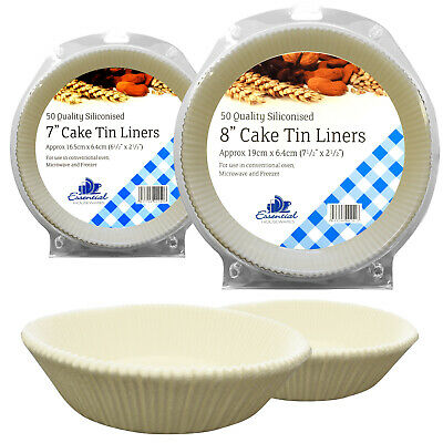 Deluxe Silicon Coated Non Stick 7  8  Baking Greaseproof Paper Cake Tin Liners • 11.99£