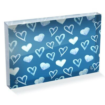 Photo Block 6 X 4   - Blue Love Hearts Boys Boyfriend  #44373 • 14.99£