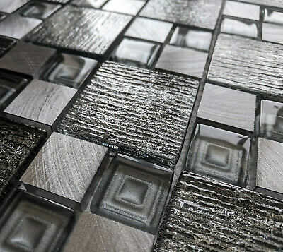 £8.98 • Buy New Silver Grey Textured Glass Foil & Brushed Steel Square Mosaic Wall Tiles 8mm