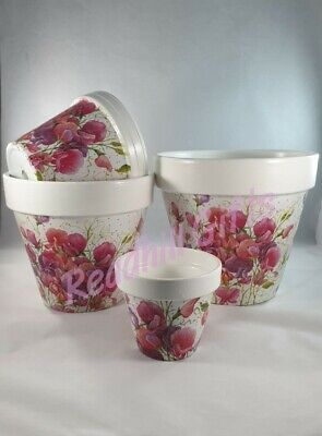 Hand Painted And Decoupaged Pink Sweet Pea Plant Pots • 14.99£