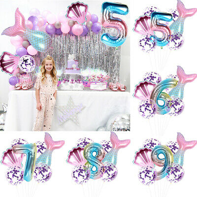 7pcs Balloons Unicorn Foil Rainbow Number Baby Shower Birthday Party Decor • 2.99£