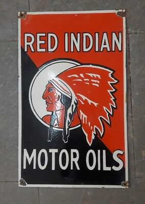 $ CDN753.21 • Buy RED INDIA MOTOR OILS PORCELAIN SIGN 20  X 13.5  Inches