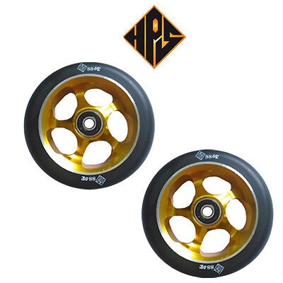 2X PRO STUNT SCOOTER GOLD SOLID METAL CORE WHEELS 110mm 88A ABEC 11 BEARINGS 9 • 25.99£