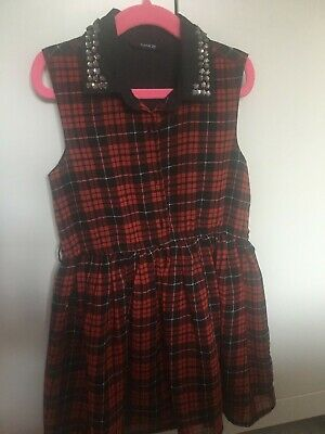 Girls 'George' Red/Black Diamante Checked Dress Aged 4 - 5 Years • 0.99£