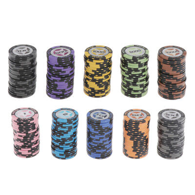 £28.48 • Buy 100pcs/pack Texas Hold'em Striped Poker Chips Casino Board Cards Game Token