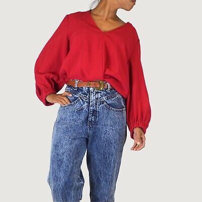 AU28 • Buy Witchery Red Long Sleeve Top Size 12 Elastic Balloon Sleeve Office Casual