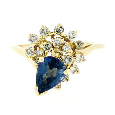 AU462.56 • Buy 14k Yellow Gold Pear Cut Alexandrite & Tiered .48ctw Diamond Cluster Flower Ring