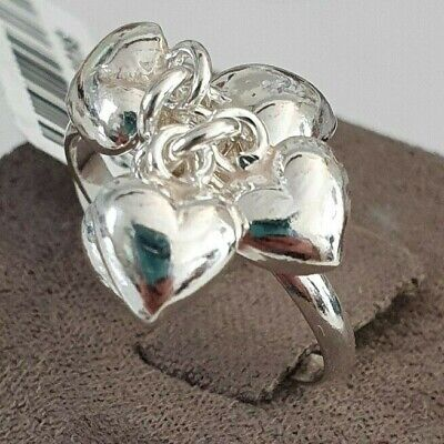 Ladies Sterling Silver 925 Multi Five Heart Drop Dangle Charm Love Ring Size M • 15.95£