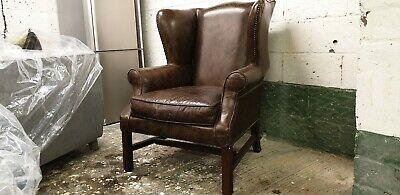 £540 • Buy Halo Cigar Antiqued Brown Leather Armchair Wingback Chesterfield RRP £1450new
