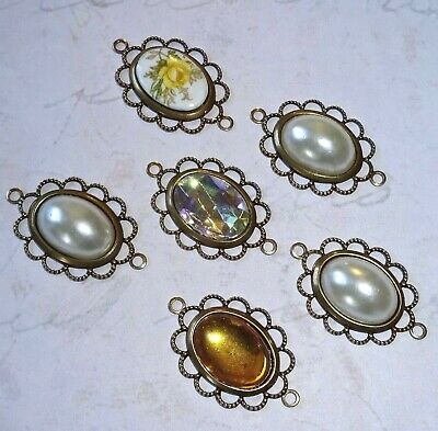 6 X Handmade Vintage Antiqued Brass Connector Cameo Settings - Pendants 27x17mm  • 6.50£
