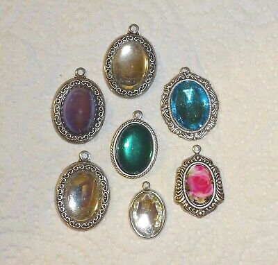 7 X Vintage Jewel Cameo Pendants - Handmade With Antiqued Silver Settings Asst'd • 7.50£