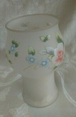 """$7.49 • Buy Pfaltzgraff ....Tea Rose FROSTED Glass Floating Candle Holder Vase 8"""" Tall"""