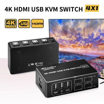 AU64.99 • Buy 4 Port USB HDMI KVM Switch 4K Switcher 4 In 1 Out For Mouse Keyboard Win10/7 Mac