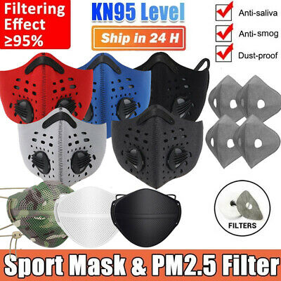 AU15.35 • Buy Sports Face Mask With Valves Reusable & Activated Carbon Filter Pads Breathable