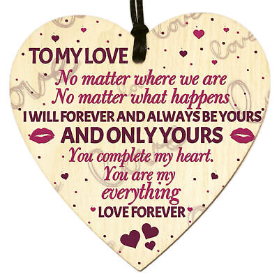 Wooden Heart Plaque Sign Romantic Gift Husband Wife Boyfriend Girlfriend Decor • 3.49£