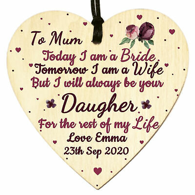 £3.98 • Buy Personalised Wood Heart Plaque Mother Of The Bride Mum Daughter Wedding Gift