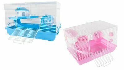 Deluxe Cute Hamster Mouse Gerbil Cage 2 Tier With House Wheel Slide Dish Bottle  • 19.99£