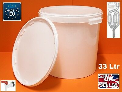 33L FERMENTATION BUCKET WITH AIRLOCK & TAP HIGH QUALITY Largest Size • 15.99£