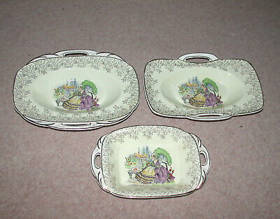 Ridgway Portland Pottery  3 Snack / Serving Dishes  Lady In A Crinoline Dress • 15£