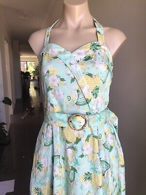 AU35 • Buy Voodoo Vixen Fit And Flare Floral Rockabilly Cotton Dress M W Belt & POCKETS !!!
