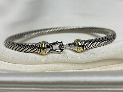 $179.99 • Buy $475 David Yurman Sterling Silver 925 4mm Cable Buckle Bracelet With 18K Gold