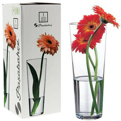 £5.99 • Buy Tall Flower Vase Clear Glass Wedding Table Centrepiece Straight Fluted Ravenhead