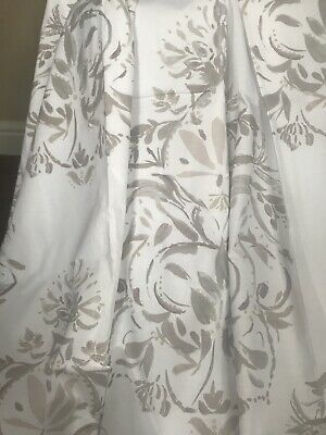 NEXT Curtains Contemporary Damask Taupe, Grey & Gold Lined Pair W66 XD72   • 10.50£