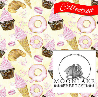 Sweets And Treat Ice Cream 100% Quality Cotton Poplin Fabric * Exclusive * • 15.45£