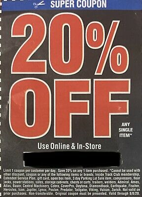 $3 • Buy Harbor Freight 20% Off Super Coupon Home Depot Lowe's Exp 8/8/20 Electronic