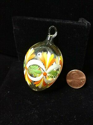 £8.63 • Buy Egg Ornament Clear Blown Glass Hand Painted Orange Yellow Green Vintage