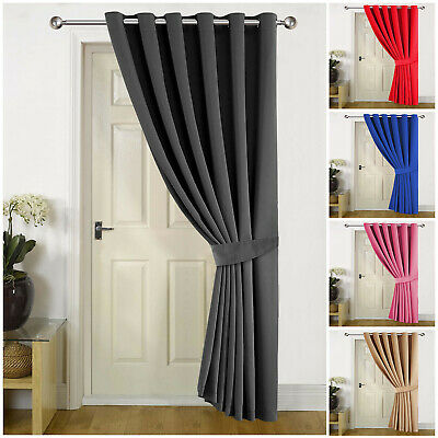 Thick Thermal Blackout Door Curtains Eyelet Ring Top Ready Made Single Panel • 18.99£