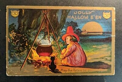$ CDN102.85 • Buy Vintage Jolly Halloween Young Witch And Black Cat Embossed Illustrated Postcard