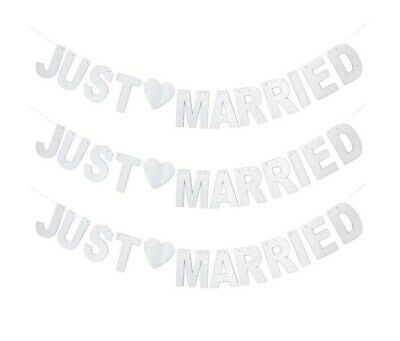 Just Married Wedding Silver Glitter Sign Bunting Banner Garland Decoration • 3.48£