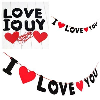 Red Pull Flowers Banner DIY Decoration Wedding Letter Valentines Day I LOVE YOU • 1.92£