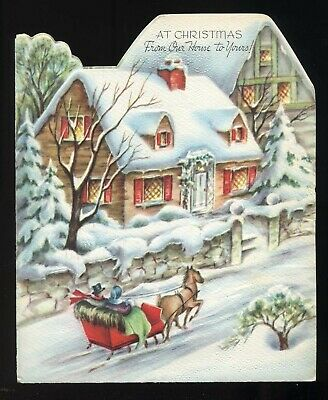 $12.49 • Buy Vintage 1940's Christmas Greetings Horse Drawn Sleigh  Houses Cottages Scene