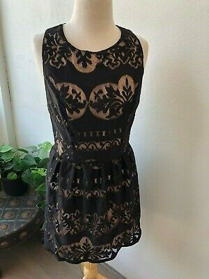 AU59 • Buy Tigerlily Black Nude Lace Look Fitted Sleeveless Mini Dress Size 14