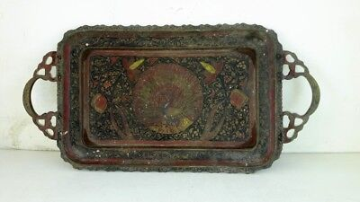 Antique Old Collectible Hand Carved Peacock Design Work Solid Brass Plate Tray • 86.28£