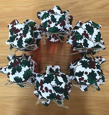 6 Christmas Homemade Holly Berry Jam Jar Covers, Labels Bands & Ties • 2.25£