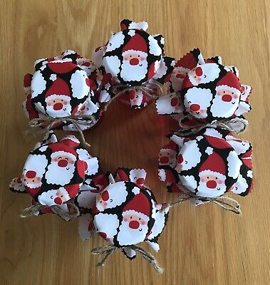 6 Christmas Homemade Santa Jam Jar Covers, Labels Bands & Ties • 2.25£