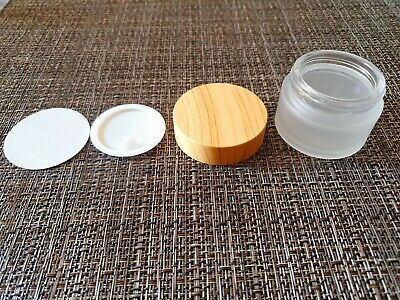 Frosted Glass With Bamboo Lid Cosmetic Jar Pot Tub Container 30ml. 100pcs • 249.99£