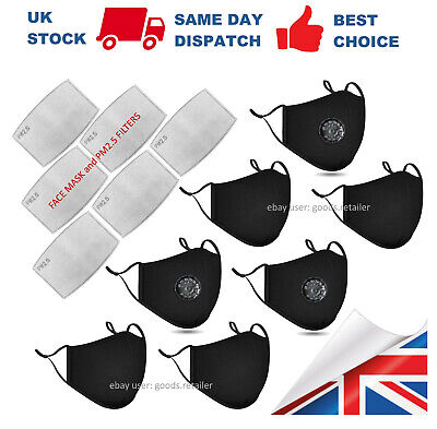 £2.99 • Buy BLACK FACE MASK 4 Layer With PM2.5 Filter And Air Valve Cotton Reusable Bulk Lot