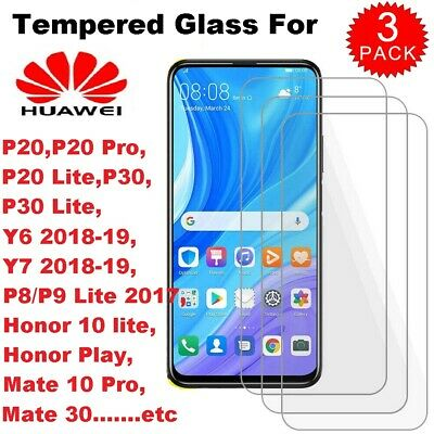 3X Huawei Tempered Glass Screen Protector For P20 30 Pro Lite Honor 10 Y6 Y7-19 • 2.69£