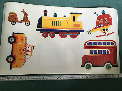 £5.50 • Buy Transport Stickers Latge Simon Hart Wall Large Train Bus Taxi 'Copter  Scooter