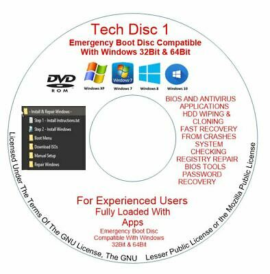 Windows 7 8 10 PC Computers Laptops Recovery Restore Fix Repair Bootable DVD • 1.89£