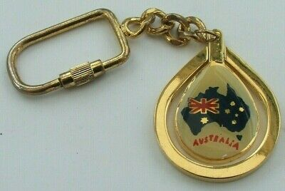 Souvenir Swivel Australia Metal Keyring With Map And Kangaroo Images • 9.50£