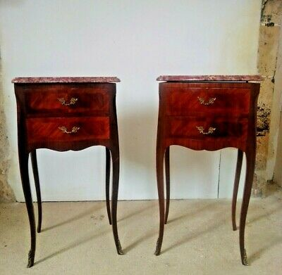 Antique French Pair Of Bedside Cabinets, Mahogany Marquetry • 629£