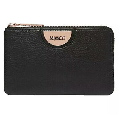 AU37 • Buy MIMCO Black Pouch Echo Leather Wallet Bag Purse BNWT Rosegold Hardware Dust Bag