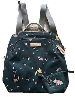 Radley Oilcloth Backpack Small Used Ex Cond With Matching Leather Purse • 30£