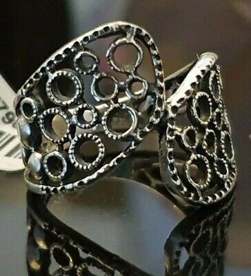 Ladies Oxidised 925 Sterling Silver Filigree Crossover Circles Band Ring Size U • 14.95£